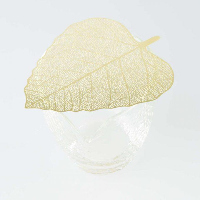 Golden leaf tea strainer