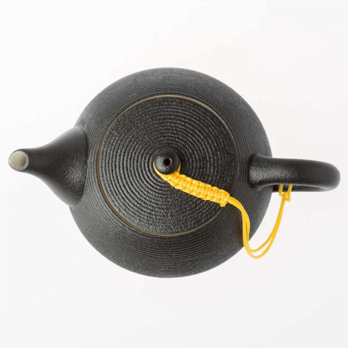 Black tea pot from the top